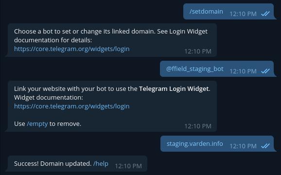 Telegram authentication — FreeField latest documentation